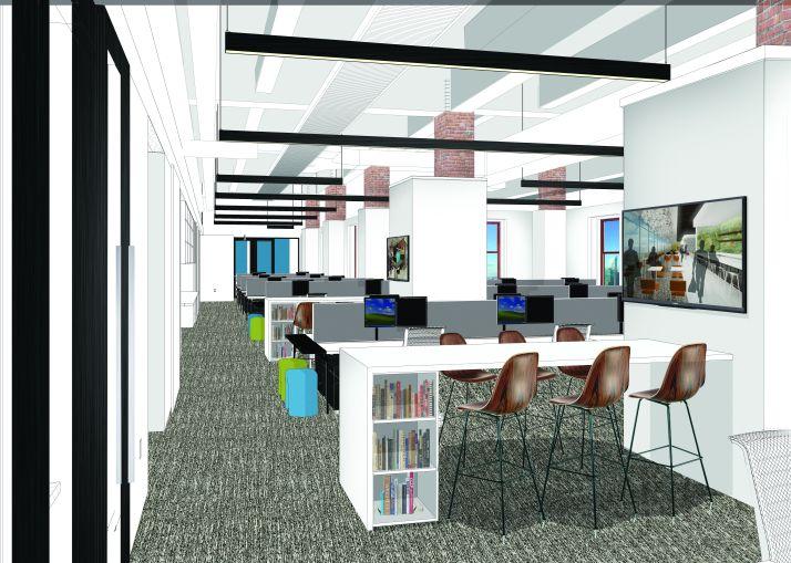 A rendering of Corgan's workstations (Rendering: Corgan).