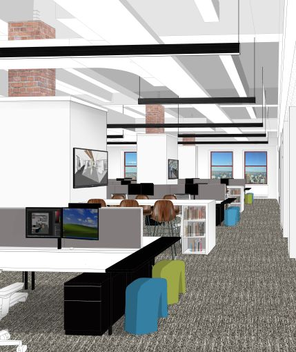 Workstations will be more open after the renovations (Rendering: Corgan).