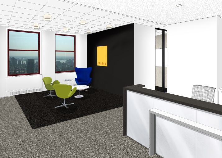 Corgan's reception area will be the revitalized in the final phase of the project (Rendering: Corgan).
