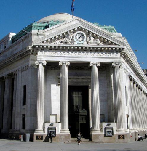 The original headquarters of Dime Savings Bank at 9 DeKalb Avenue.