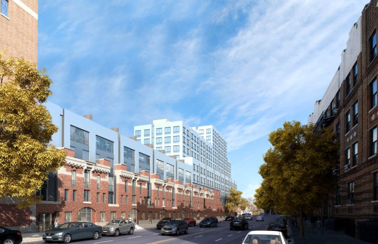 President Street angle of the redeveloped Bedford Union Armory (Rendering: BFC Partners).