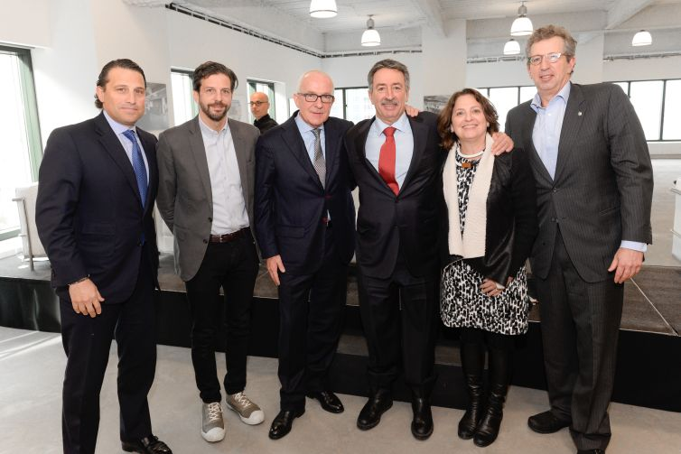 Left to right: Brian Waterman of Newmark Grubb Knight Frank, Tim Tompkins of the Times Square Alliance, Albert Behler of Paramount Group, Jonathan Mechanic of Fried Frank, Ellen Albert of Viacom and William Rudin (Photo: Presley Ann/PMC).