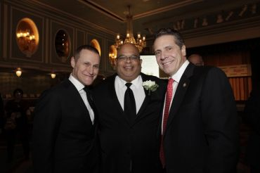 REBNY Chairman Rob Speyer, left, REBNY President John Banks, center, and Gov. Andrew Cuomo.
