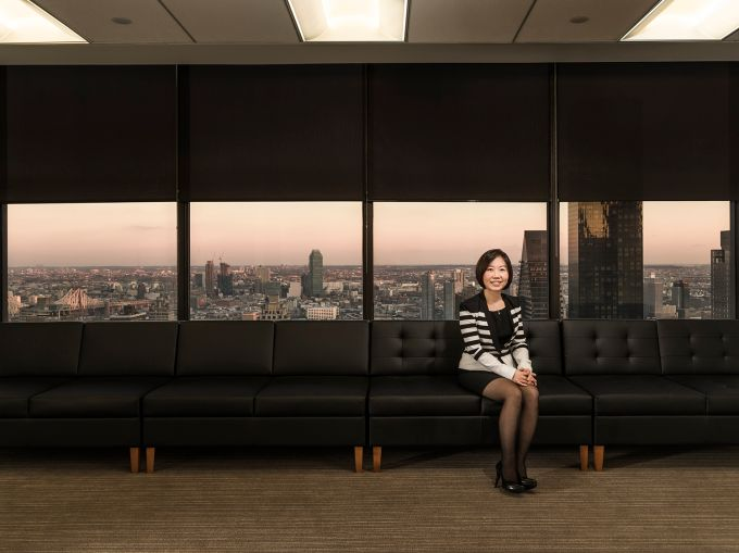 Helen Hwang in Meridian Investment Sales's Third Avenue offices (Photo: Sasha Maslov/for Commercial Observer).