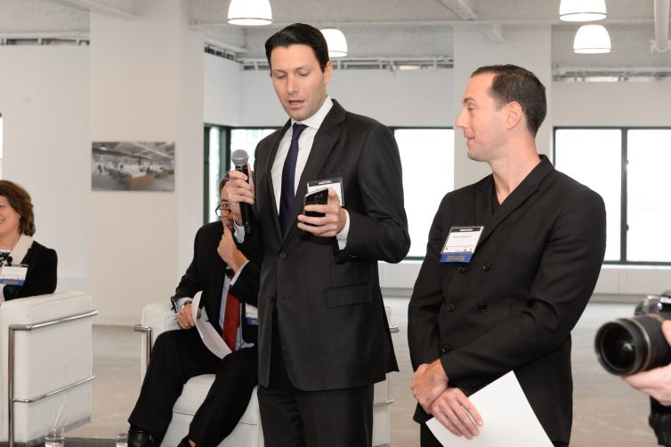 Observer Media CEO Joseph Meyer introduces Commercial Observer's new Realgraph software, which launched last week, as Adam Spagnolo of SGA looked on (Photo: Presley Ann/PMC).