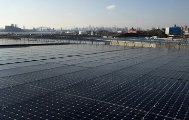 HIGHER POWERED: A Bronx roof top covered with solar panels (Photo: Don Emmert/AFP/Getty Images).