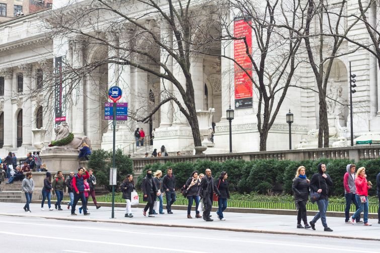 Bus shelters are slated for areas such as outside of the New York Public Library's main branch.