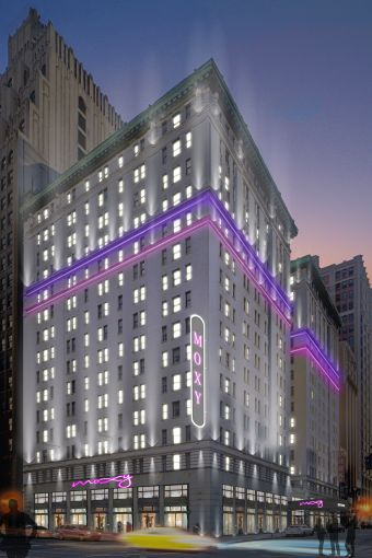 A rendering of the Marriott Moxy Hotel at 485 Seventh Avenue.