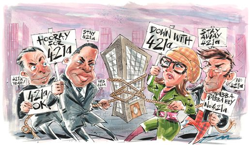 The battle over 421a continues after the tax break expired (Illustration: Russ Tudor).