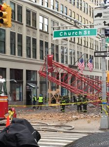 A crane collapsed on Worth Street last week, killing a 38-year-old man sitting in his car (Photo: Terence Cullen/Commercial Observer).
