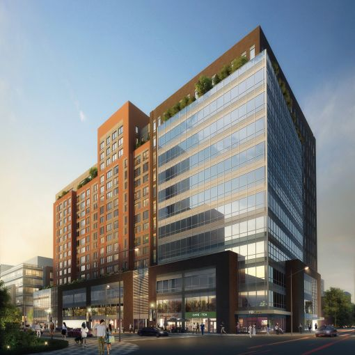 The office building at Flushing Commons currently under construction (Rendering: Conway+Partners).