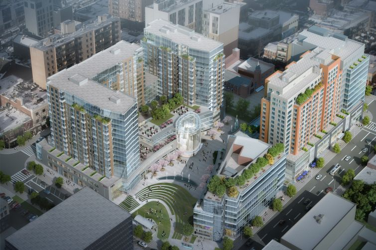Flushing Commons is the Flushing-based company's largest development in the area, with 1.8 million square feet of retail, residential, office, parking and a public park (Rendering: Conway+Partners).