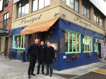 Bertwood Realty's Bertrand de Soultrait, at left, and Abe Bichoupan, right, flank Thomas Olmedo in front of 161 Lafayette Street, where Mr. Olmedo will be opening Le Troquet.