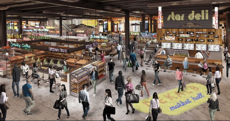 Rendering of DeKalb Market Hall at City Point in Downtown Brooklyn.
