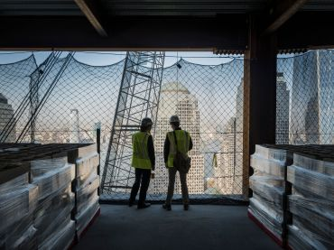 While construction of 2 World Trade Center has to wait for a new anchor tenant, work at 3 World Trade Center is well under way and slated to top out this summer (Photo: Sasha Maslov/for Commercial Observer).