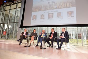 Left to right: moderator Michael S. Zetlin with panelists Jessica Lappin, Larry  Silverstein, Jay Badame and Tom Vecchione (Photo:Presley Ann Slack/PMC). =