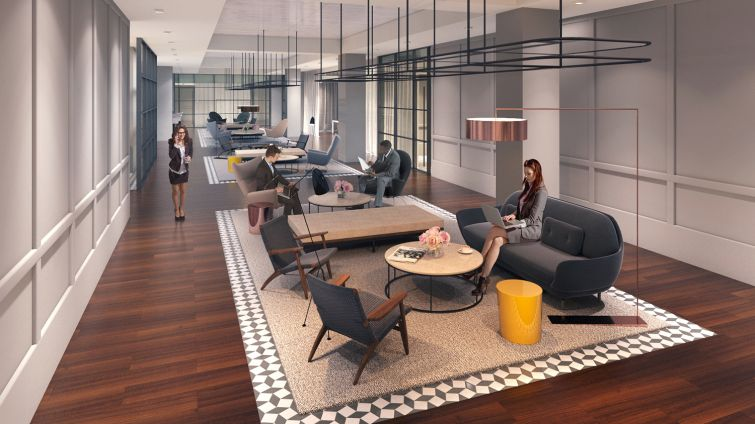 """The lounge at """"The Club"""" will make for comfortable social gatherings (Rendering: Real Estate Arts)."""
