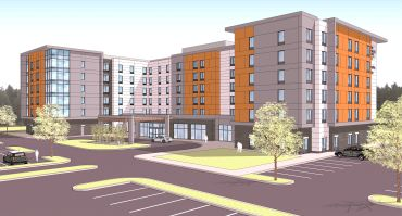 A rendering of the Homewood Suites and Hampton Inn at 369 Washington Street in Woburn, Mass.