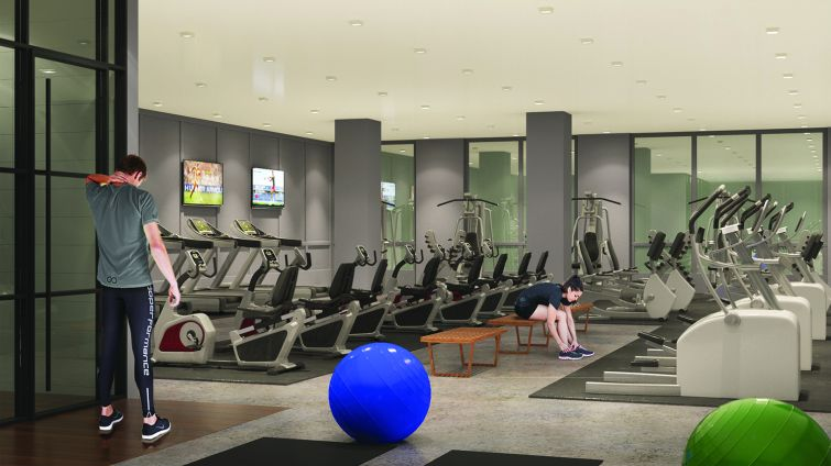 """The gym will be part of the """"The Club"""" (Rendering: Real Estate Arts)."""