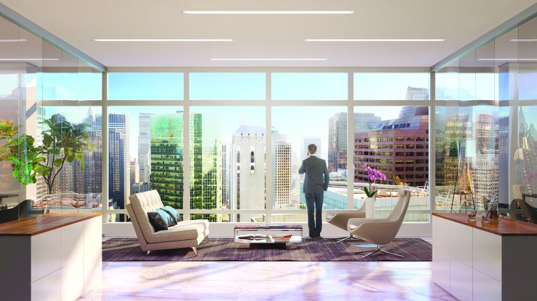 Equity Office plans to open up the windows to reveal full floor-to-ceiling views (Rendering: Real Estate Arts).