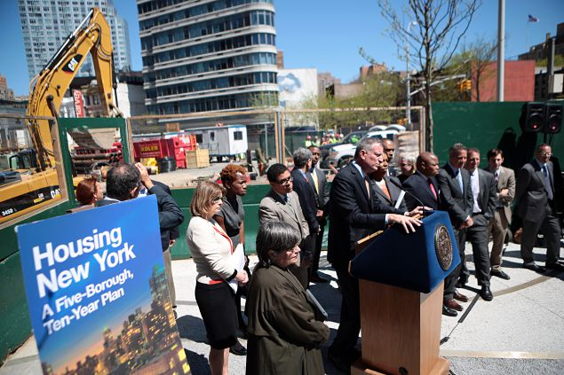 Mayor Bill de Blasio unveiling his affordable housing plan (Photo: Ed Reed for the Office of Mayor Bill de Blasio).