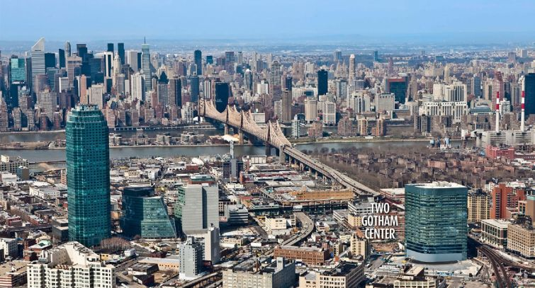 28-10 Queens Plaza South and Two Gotham Center (Photo: CoStar Group).