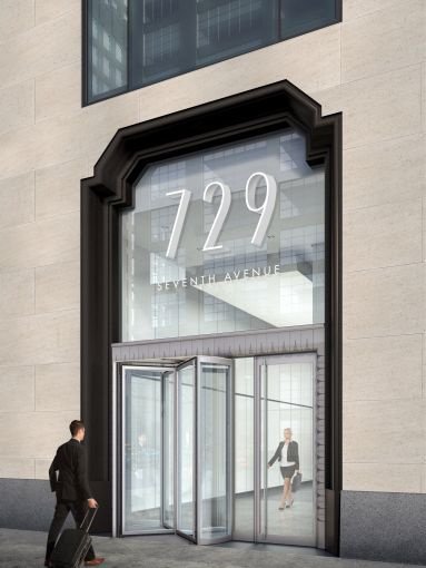 Rendering of the new entrance to 729 Seventh Avenue.