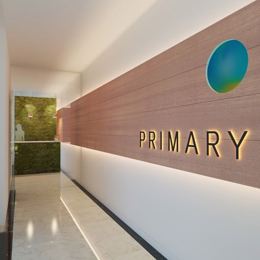 The wood and green walls are elements that reflect Primary's focus on health (Rendering: Primary).