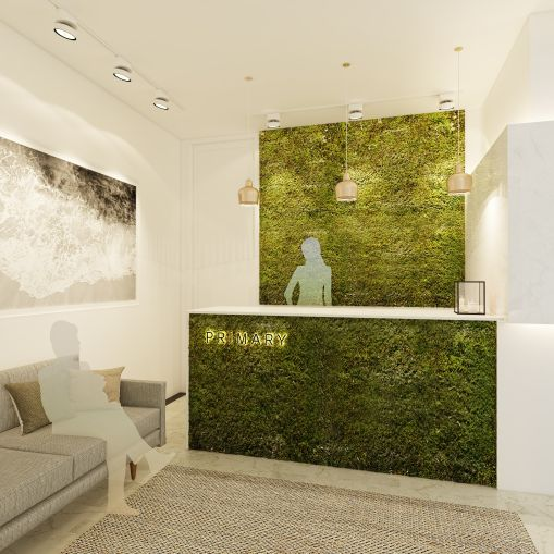 Green walls are big for this health-focused office (Rendering: Primary).