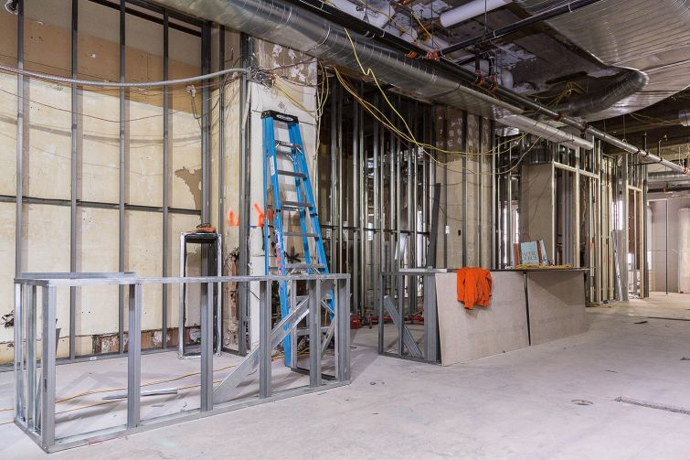 The frame of the kitchen, which will serve healthy snacks and organic food catered by Dig Inn (Photo: Kaitlyn Flannagan/ For Observer).