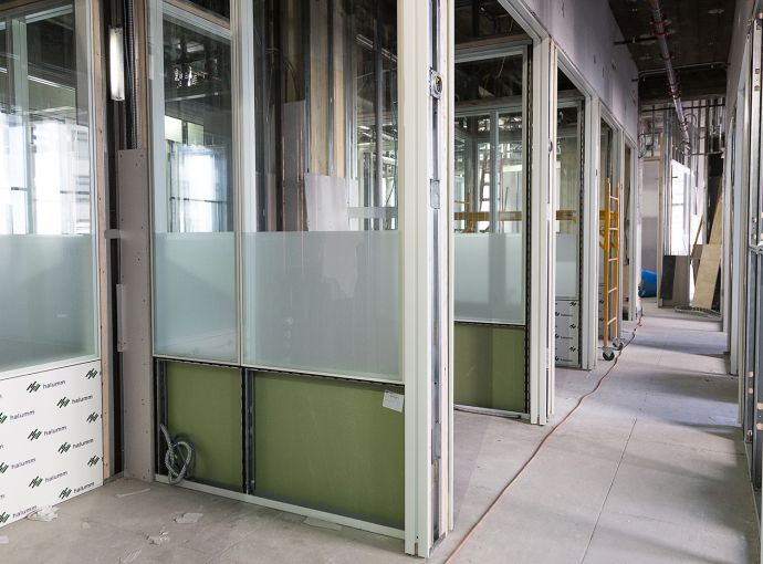 Enclosed suites under construction at Primary's office space (Photo: Kaitlyn Flannagan/ For Observer).