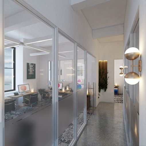 Some private offices will be big enough to one up to 10 people (Rendering: Primary).