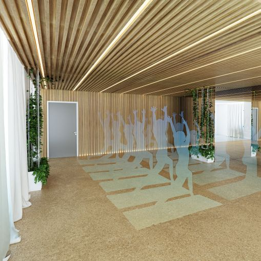 The fitness studio will host more than 30 classes a week (Rendering: Primary).