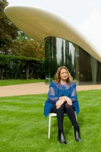 Zaha Hadid, who died on March 31, 2016, outside her design for an extension of the Serpentine Sackler Gallery in London in 2013 (Leon Neal / AFP / Getty Images).