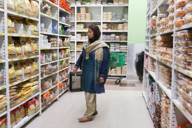 A woman shops in the Patel Brothers Indian supermarket in Jackson Heights, Queens (Photo: Aaron Adler/ For Commercial Observer).