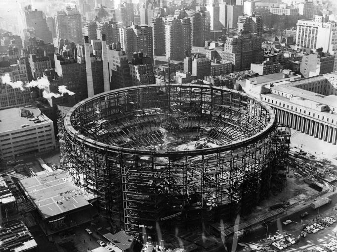 Madison Square Garden under construction in 1966 (Photo by Fox Photos/Getty Images)
