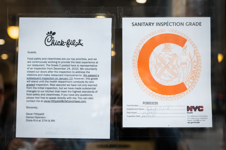"Chick-fil-A at 1000 Avenue of the Americas in Manhattan received a ""C"" during its last graded health inspection (Photo: Kaitlyn Flannagan/Commercial Observer)."