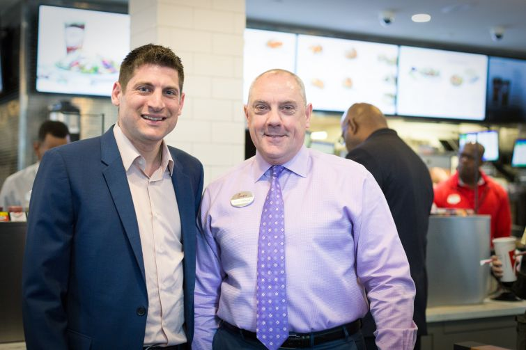 Franchisee owner Oscar Fittipaldi and RKF broker Jeremy Ezra at Chick-fil-A at 1000 Ave of the Americas (Photo: Kaitlyn Flannagan/Commercial Observer).