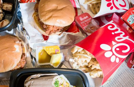 Chick-fil-A chicken sandwich, grilled nuggets, spicy chicken sandwich, fries and a wrap.