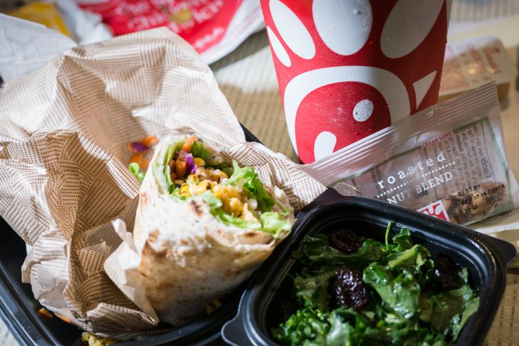 Chick-fil-A wrap and kale salad (Photo: Kaitlyn Flannagan/Commercial Observer).