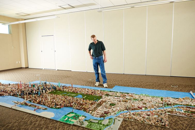 Mr. Macken's mini-Manhattan measures 30 feet in length (Photo: Yvonne Albinowski/ For Commercial Observer).