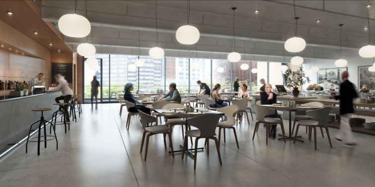The 7,700-square-foot restaurant will have column-free space  (Rendering: COOKFOX Architects).