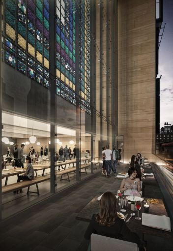 The restaurant will have a 150-square-foot terrace so tenants can dine al-fresco (Rendering: COOKFOX Architects).