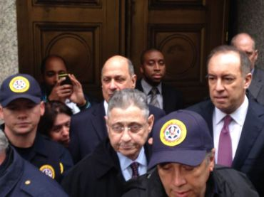 Sheldon Silver with his attorneys (Photo: Will Bredderman/ for Observer).
