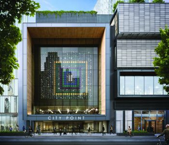 City Point's high-end restaurant will have an artwork installed above its glass façade (Rendering: COOKFOX Architects).