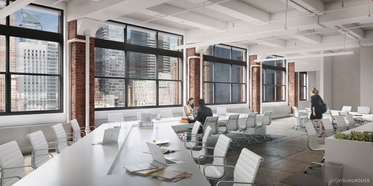 Open space layouts can be achieved in the building (Rendering: William Macklowe Company).