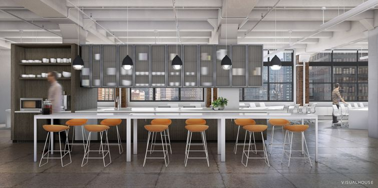 The kitchen space for the 11th floor (Rendering: William Macklowe Company).