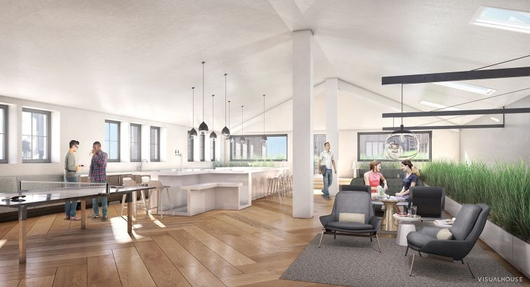A redesigned penthouse lounge for 311 West 43rd Street. (Rendering: William Macklowe Company).