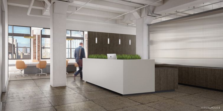 The reception desk on the 11th floor (Rendering: William Macklowe Company).