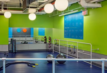 Blink Fitness is known for its bright, colorful gyms.